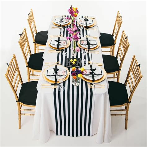 10pcs 14 quot 108 quot black and white striped table runner for wedding table centerpiece home decor