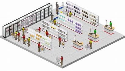 Minimarket Supermarket Mall Clipart Layout Grocery Plan