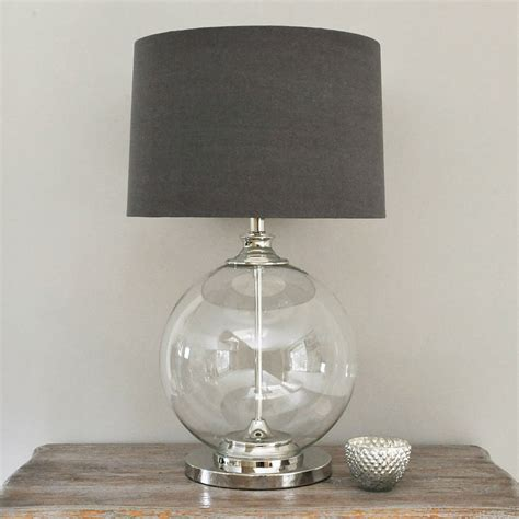 Glass Ball Table Lamp And Grey Shade By Primrose & Plum