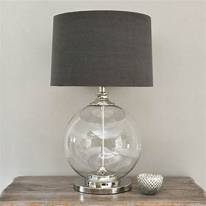 Glass ball table lamp and grey shade by primrose plum for Floor lamp with plum shade