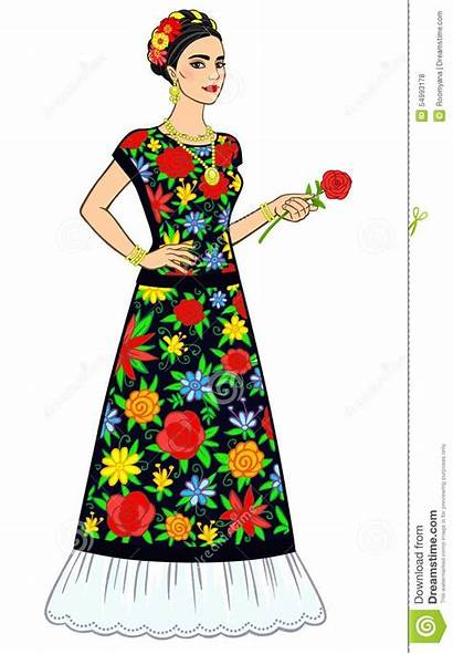 Woman Mexican Ancient Background Vector Illustration Huipil