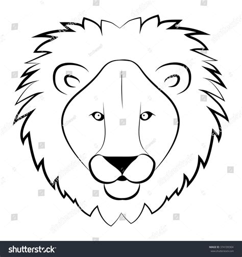 Lion Head Coloring Book Wild Lion Stock Vector 374109304