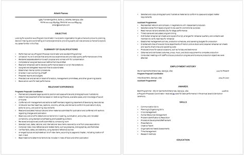 Program Coordinator Resume by Program Coordinator Resume Resume