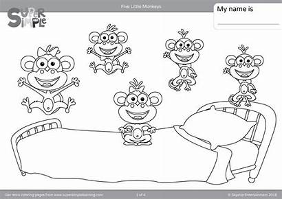 Monkeys Coloring Five Pages Jumping Bed Sheets