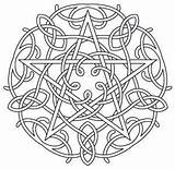 Coloring Pages Pentagram Wiccan Pentacle Mandala Celtic Pagan Embroidery Fire Designs Water Earth Air Symbols Pattern Adult Spirit Shadows Colouring sketch template