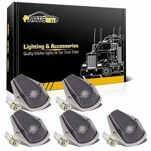 5x Smoke Cab Roof Marker Lights W   T10 5050 White Led For
