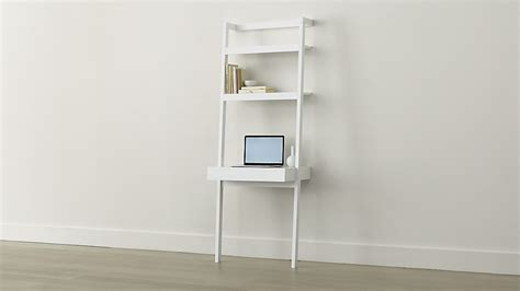 ladder shelf desk white sawyer white leaning desk crate and barrel