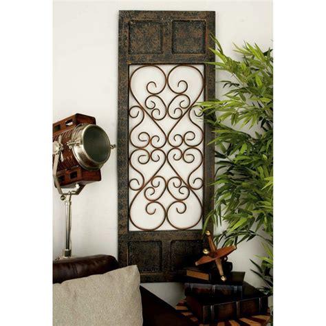 door in wall panel brown rustic vintage scrolling wood metal garden gate 7028