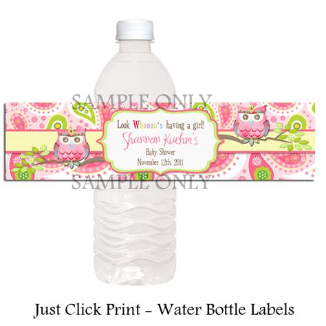printable water bottle labels for baby shower paisley owl baby shower or birthday water bottle labels