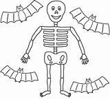 Coloring Skeleton Halloween Pages Skull Skeletons Bats Blank Worksheet Template Bigactivities Four Activity Pdf sketch template