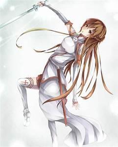 Wallpaper, Drawing, Illustration, Long, Hair, Anime, Girls, Sword, Art, Online, Yuuki, Asuna, Weapon