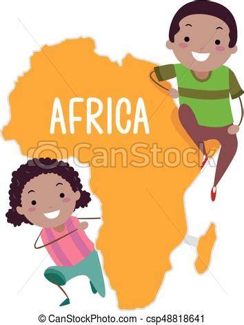 clipart per bambini stickman bambini africa continente illustrazione