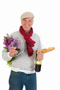 French Man With Bread And Wine Royalty Free Stock ...
