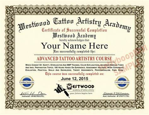 diploma tattoo artistry academy  certificate prop