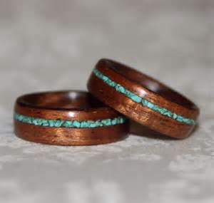 wooden wedding bands set of custom wooden rings with crushed by mnmwoodworks