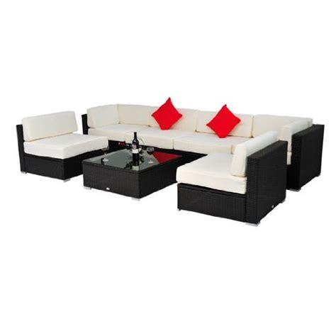 outsunny patio furniture outsunny deluxe outdoor patio pe rattan wicker 7 pc sofa