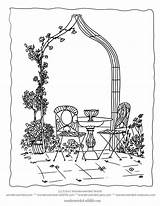 Coloring Garden Flower Arch Flowers Pages Climbers Rose Formal Sheet Colouring Adult Gardens Arbor Sheets Drawings Climbing Designlooter Wonderweirded Traditional sketch template