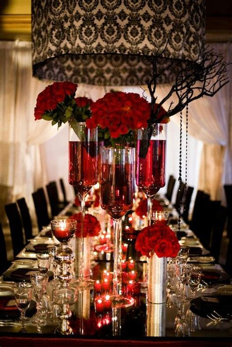 black white  red table settings red black  white