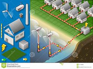 Isometric Houses With Offshore Wind Turbines Royalty Free