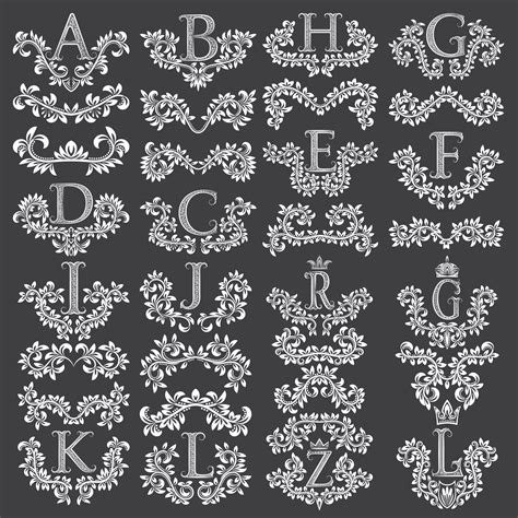 decorative fancy letters eps  vector  axisco