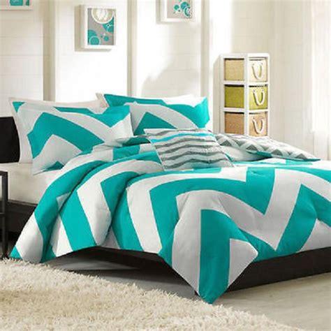 blue teal white grey chevron stripe modern comforter set