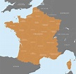 Map of France - French regions - royalty free editable ...