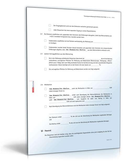 trennungsvereinbarung haus muster trennungsvereinbarung eheleute ohne kinder muster zum