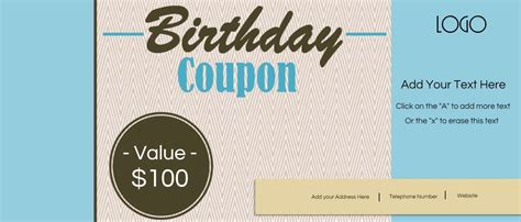 Free Custom Birthday Coupons Customize Print At Home