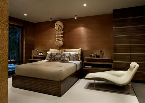 contemporary bedroom in warm brown tones hgtv
