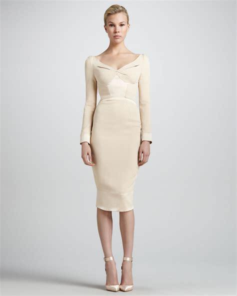 color panel sleeve dress zac posen satin panel sleeve v neck dress in