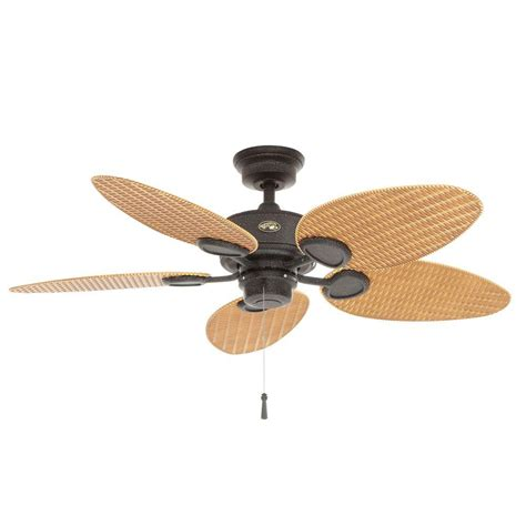 5 blade hton bay ceiling fan hunter sea wind 48 in indoor outdoor matte black ceiling