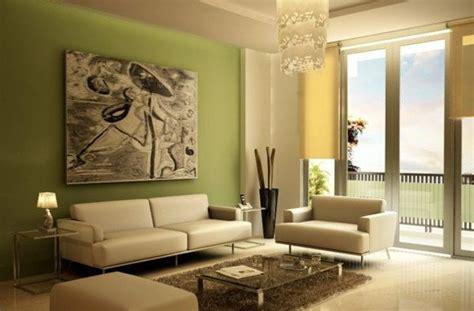 luxus wohnzimmer streichen gruene wand grosses gemaelde