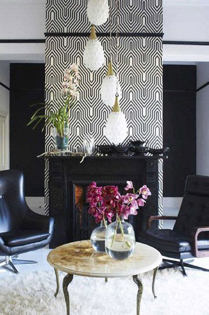 contemporary black  white wallpaper  fireplace