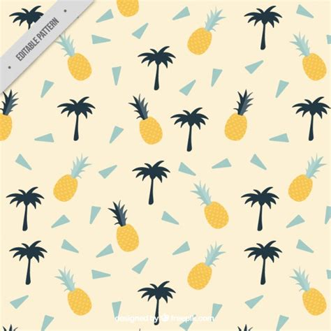 Summer Pattern With Palm Trees And Pineapples Vector  Free Download