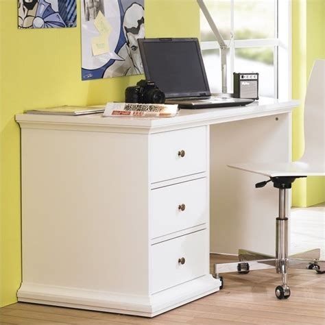 small 3 drawer desk sonoma three drawer desk in white 7782049