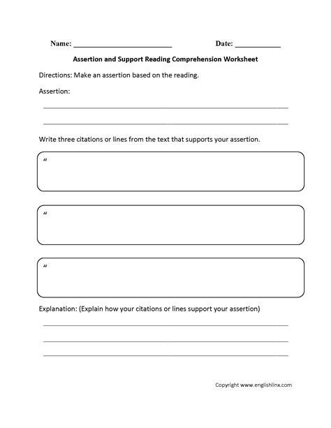 worksheets reading comprehension worksheet exle