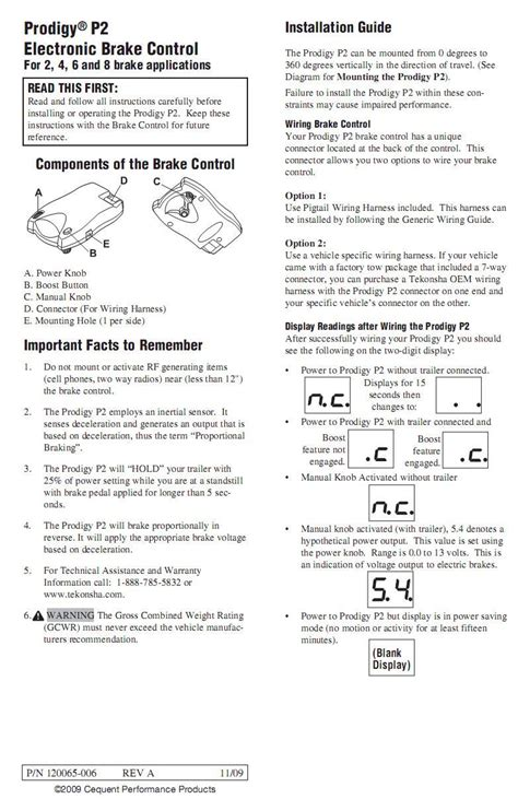 Prodigy General Brake Controller Information