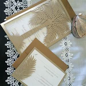 custom laser cut wedding invitation palm tree tropical With laser cut palm tree wedding invitations
