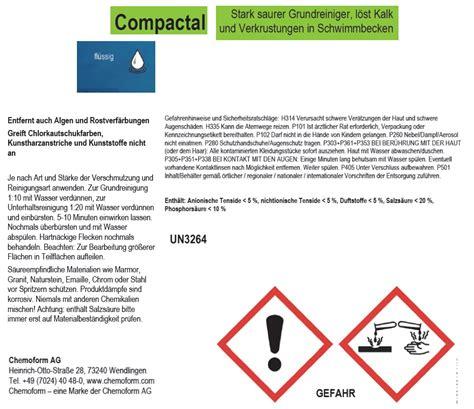 Salzsäure Gegen Kalk by Compactal Stark Saures Reinigungsmittel Zur Pool Grund