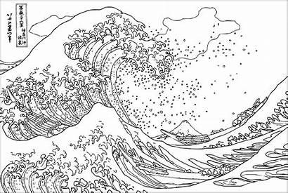 Coloring Wave Hokusai Kanagawa Japanese Tsunami Famous