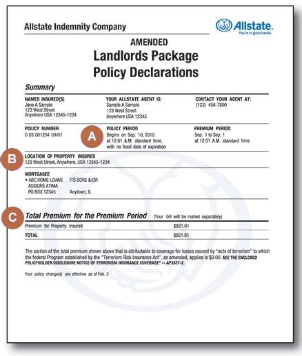 landlord insurance policy declarations allstate