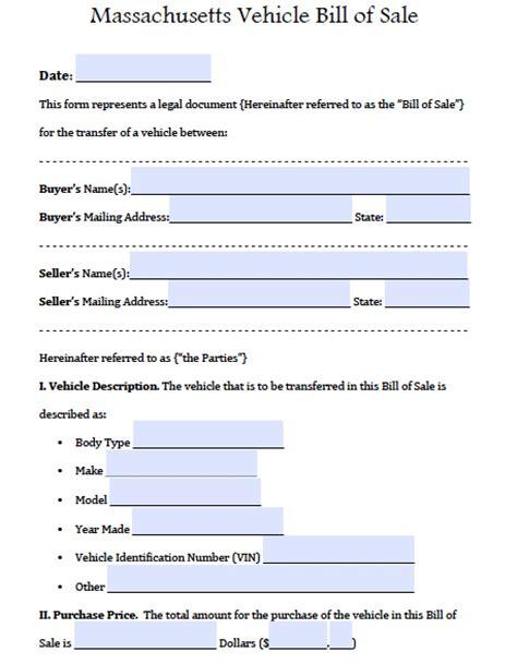 Mass Boat Registration Bill Of Sale by Free Massdot Rmv Registry Of Motor Vehicles Auto Bill Of