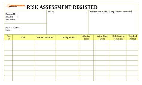 risk assessment register format