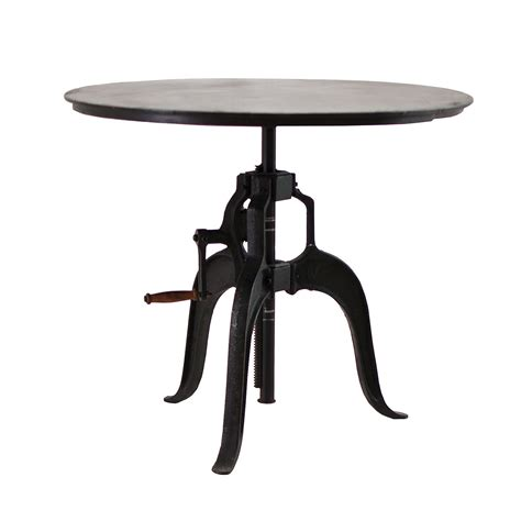 """Adjustable Height Crank Dining Table 36""""  Zin Home"""