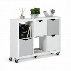 Etagere 6 Cases : kubico tag re 6 cases blanc et gris avec tiroirs roulettes rangement alinea ~ Teatrodelosmanantiales.com Idées de Décoration