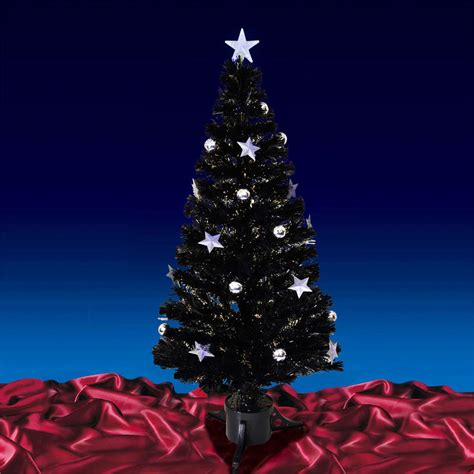 120cm black fibre optic star bauble tree with tree top star