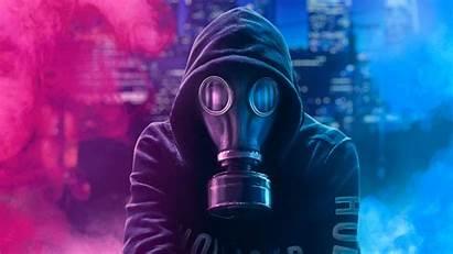 Mask 4k Hoodie Guy Wallpapers Neon Backgrounds