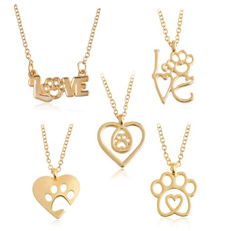 love paw necklace gold silver chain hollow dog paw claw