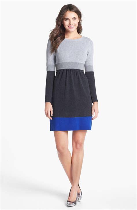 colored sweater dress eliza j colorblock sweater dress in multicolor cobalt