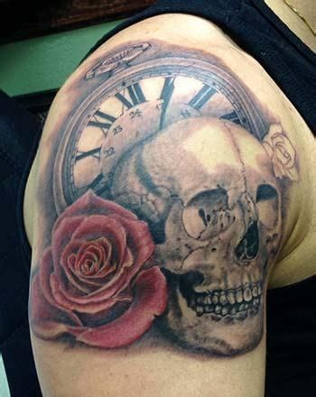 skull rose  clock tattoo google search st tattoo designs pinterest tattoo rose